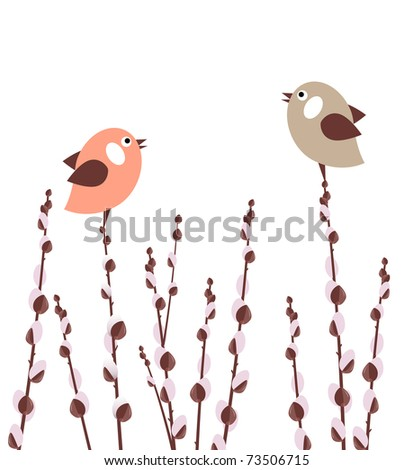Pussy willow branches with small stylized birds