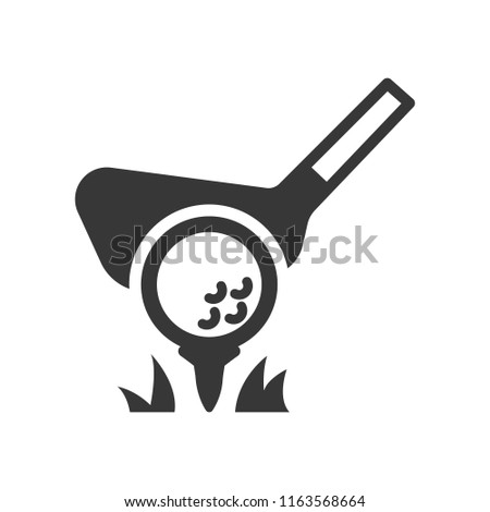 putter and golf ball. monochrome icon