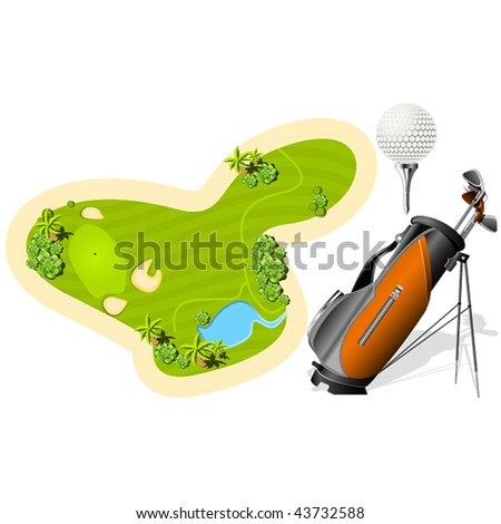 Putting Green, Golf Bag and ball isolated on the white