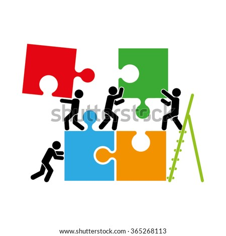 puzzle and people icon vector illustration eps10