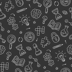 Puzzle and riddles. Hand drawn seamless pattern with crossword puzzle, maze, brain, chess piece, light bulb, labyrinth, gear, lock and key. Vector illustration in doodle style on chalkboard background