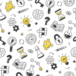 Puzzle and riddles. Hand drawn seamless pattern with crossword puzzle, maze, brain, chess piece, light bulb, labyrinth, gear, lock and key. Vector illustration in doodle style on white background