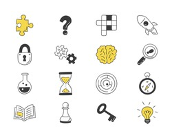 Puzzle and riddles. Set of isolated hand drawn icons. Crossword puzzle, Maze, Brain, Chess piece, Light bulb, labyrinth, gear, lock and key. Vector illustration in doodle style on white background