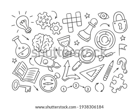 Puzzle and riddles. Set of isolated hand drawn objects. Crossword puzzle, Maze, Brain, Chess piece, Light bulb, labyrinth, gear, lock and key. Vector illustration in doodle style on white background