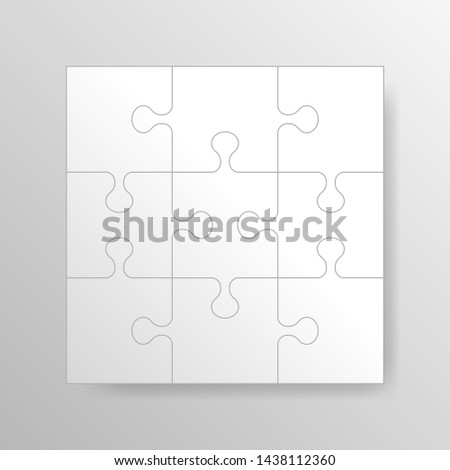Puzzle background, banner, blank. Jigsaw section template. Modern vector illustration. Stock foto ©