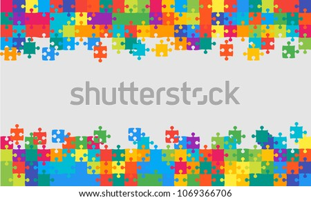Puzzle background, banner, blank. Vector jigsaw section template. Background with colorful puzzle frame separate pieces, mosaic, details, tiles, parts. Rectangle abstract jigsaw. Game group detail.