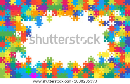 Puzzle background, banner, blank. Vector jigsaw section template. Background with multicolor puzzle frame separate pieces, mosaic, details, tiles, parts. Rectangle abstract jigsaw. Game group detail.