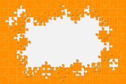Puzzle background, banner, blank. Vector jigsaw section template. Background with orange puzzle frame separate pieces, mosaic, details, tiles, parts. Rectangle abstract jigsaw. Game group detail.