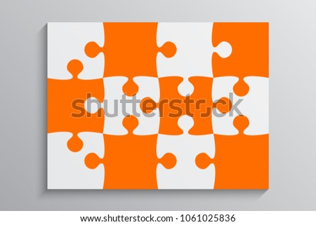 Puzzle background, banner, blank. Vector jigsaw section template. Background with puzzle 12 separate pieces, mosaic, details, tiles, parts. Rectangle outline abstract jigsaw. Game group detail.