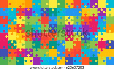 Puzzle background, banner, blank. Vector jigsaw section template. Background with puzzle 112 multicolor separate pieces, mosaic, details, tiles, parts. Rectangle jigsaw. Game group detail.
