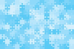 Puzzle background, banner, blank. Vector jigsaw section template. Background with puzzle 150 blue separate pieces, mosaic, details, tiles, parts. Rectangle outline abstract jigsaw. Game group detail.