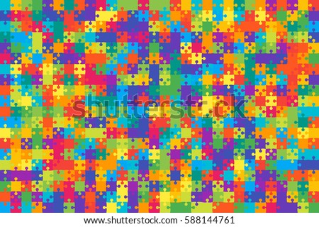 Puzzle background, banner, blank. Vector jigsaw section template. Background with puzzle 500 color separate pieces mosaic, details, tiles, parts. Rectangle outline abstract jigsaw. Game group detail.