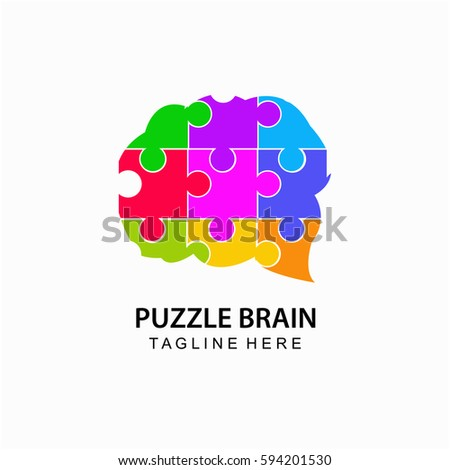 puzzle brain abstract logo