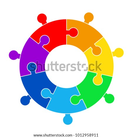 Puzzle circle jigsaw game figure icon. Isolated and flat illustration. Stock vector graphic