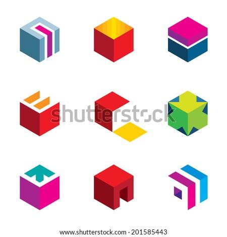 Puzzle cube maze box arrow symbol success icon logo set