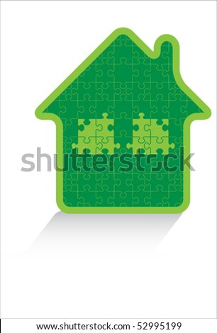 puzzle eco green house isolated over white background and groups