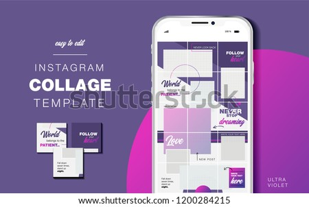 Puzzle endless design Template for Instagram account. Pack for creature your unique content. Modern ultra violet gradient