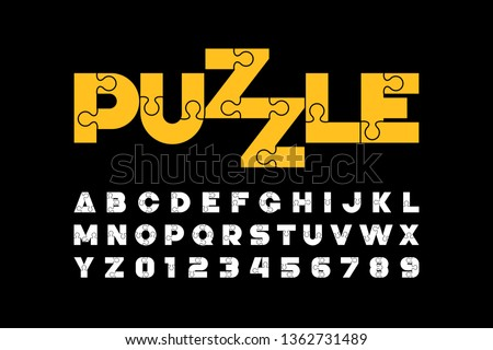 Puzzle font design, jigsaw puzzle alphabet and numbers, vector illustration