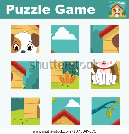 Puzzle for children featuring a cute dog character. Match pieces and complete the picture. Activity for preschool children.(Vector illustration)