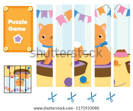 Puzzle for toddlers. Match pieces and complete the picture of cute cat. Educational game for children. Animals theme