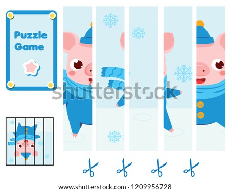 Puzzle for toddlers. Match pieces and complete the picture of funny pig. Educational game for children. Animals theme