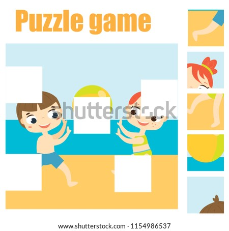 Puzzle game, Find missing part of picture. Educational activity for pre school years kids, toddlers and children. Summer holidays theme