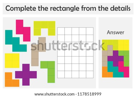 Puzzle game with colorful details for children, complete rectangle, level 4, education game for kids, preschool worksheet activity, task for the development of logical thinking, vector illustration