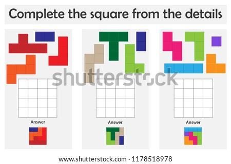 Puzzle game with colorful details for children, complete the square, education game for kids, preschool worksheet activity, task for the development of logical thinking, vector illustration
