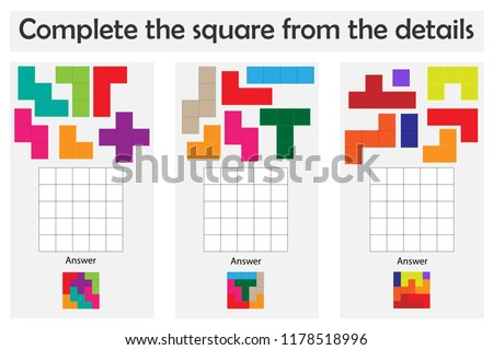 Puzzle game with colorful details for children, complete the square, level 3, education game for kids, preschool worksheet activity, task for the development of logical thinking, vector illustration
