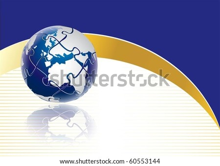 Puzzle globe concept in editable vector format