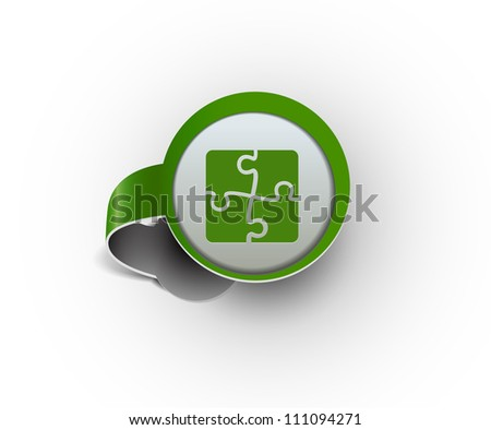 puzzle hanging sticker icon, vector