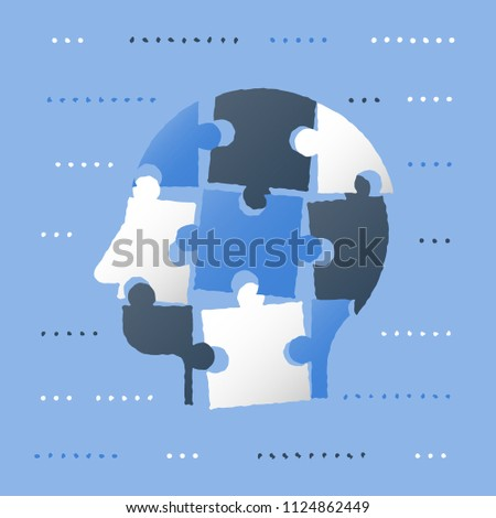 Puzzle head, neurology concept, personality development, self improvement, bias and decision making, education strategy, human resources and recruitment, smart and simple solutions, critical thinking