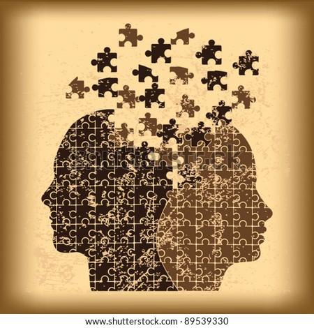 Puzzle heads grunge background vector