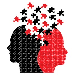 Puzzle heads icon vector