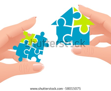 Puzzle home, vector illustration