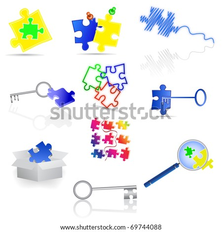 Puzzle icons and elements. Vector illustration.