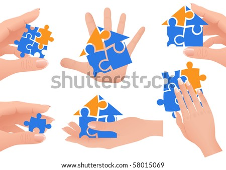 Puzzle in hands, vector illustration