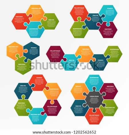 Puzzle infographic. Optional process, workflow infocharts with puzzles. Step business infographic vector isolated template. Puzzle step layout, infochart project infographic illustration