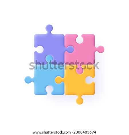 Puzzle, jigsaw, incomplete data concept. Puzzle pieces icon. 3d vector illustration.