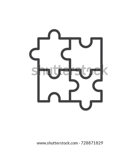 Puzzle line icon, outline vector sign, linear style pictogram isolated on white. Plugins symbol, logo illustration. Editable stroke