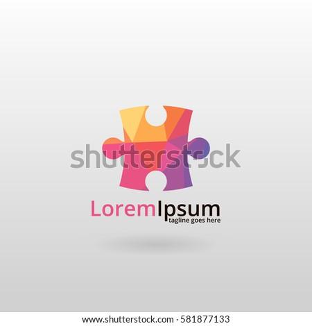 Puzzle logo. Polygonal puzzle logotype.