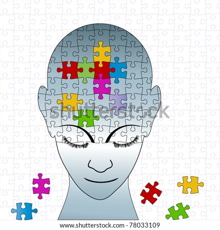 Puzzle male - full puzzle (individual pieces)background behind - stock vector