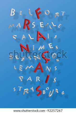 Puzzle of word France composed by name of french cities