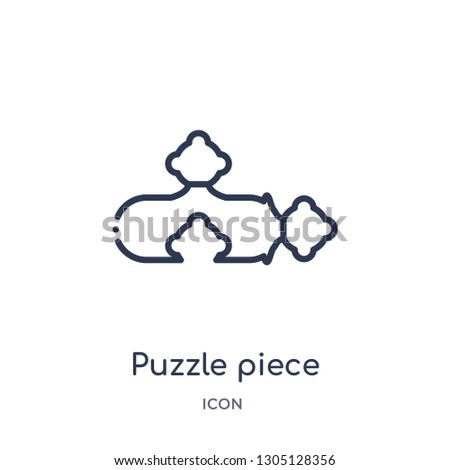 puzzle piece icon from productivity outline collection. Thin line puzzle piece icon isolated on white background.
