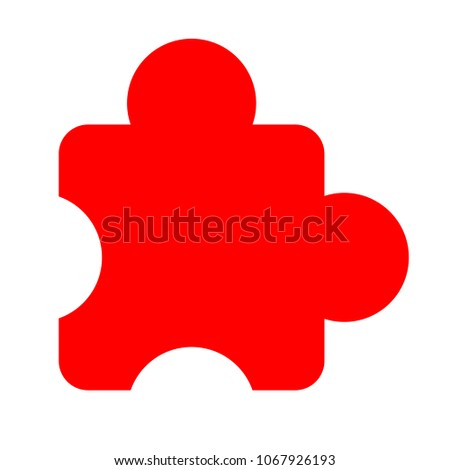 puzzle piece icon, vector puzzle symbol - puzzle illustration, jigsaw element shape isolated
