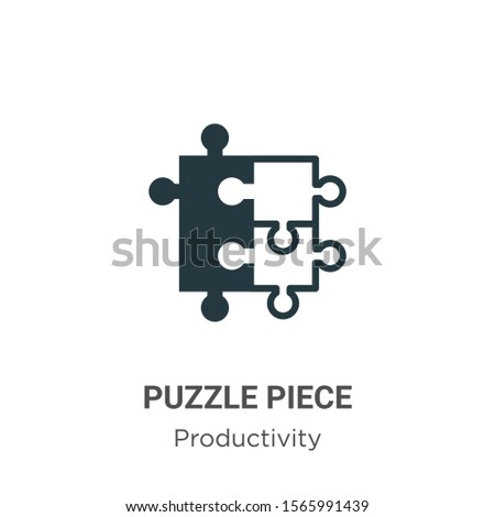 Puzzle piece vector icon on white background. Flat vector puzzle piece icon symbol sign from modern productivity collection for mobile concept and web apps design.