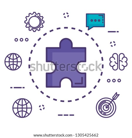 puzzle piece with innovation icons