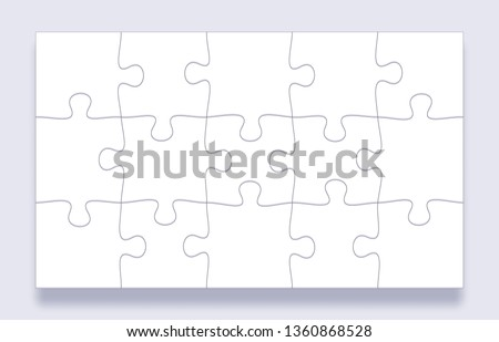 Puzzle pieces grid. Jigsaw tiles, mind puzzles piece and jigsaws details with shadow business presentation frame. Thinking puzzle game, success mosaic solution vector template
