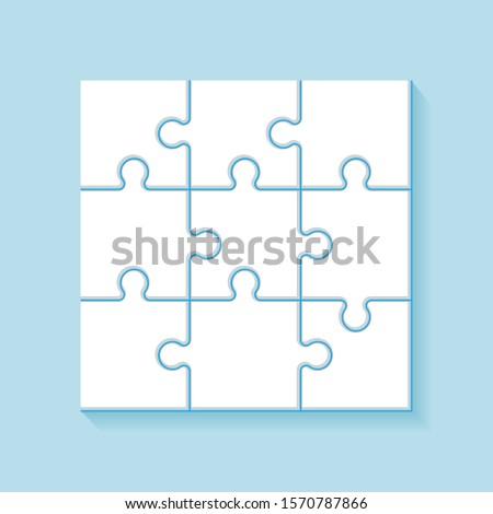 Puzzle 9 pieces grid. Jigsaw tiles, mind puzzles piece frame. Success mosaic solution