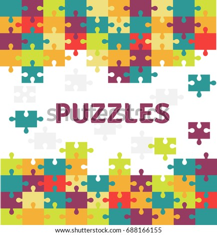 Puzzle pieces isolated icon. Vector illustration in flat style, game concept.